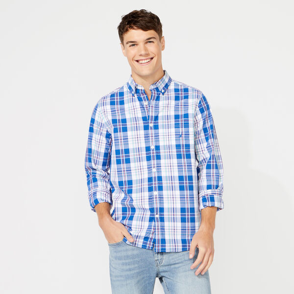 CLASSIC FIT LONG SLEEVE PLAID SHIRT - Windsurf Blue