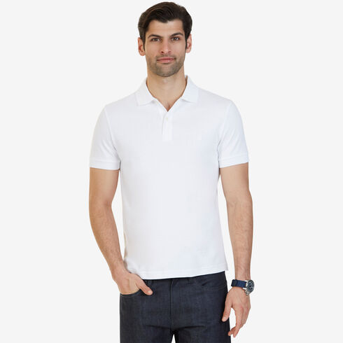 Short Sleeve Slim Fit Solid Interlock Polo - Bright White