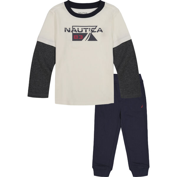 TODDLER BOYS' THERMAL 2PC JOGGER SET (2T-4T) - Antique White Wash