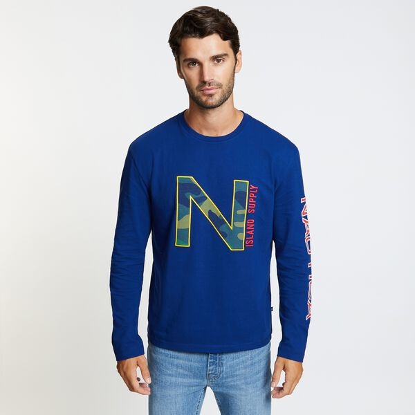 Long Sleeve Crewneck Camo Logo T-Shirt - Blue Depths
