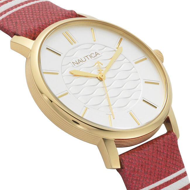 Coral Gables 3-Hand Watch - Red/White,Multi,large