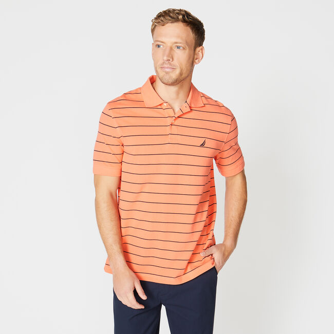 Classic Fit Mesh Polo in Breton Stripe,Livng Coral,large