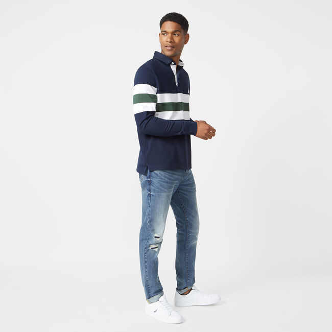 CLASSIC FIT LONG SLEEVE RUBGY POLO,Navy,large