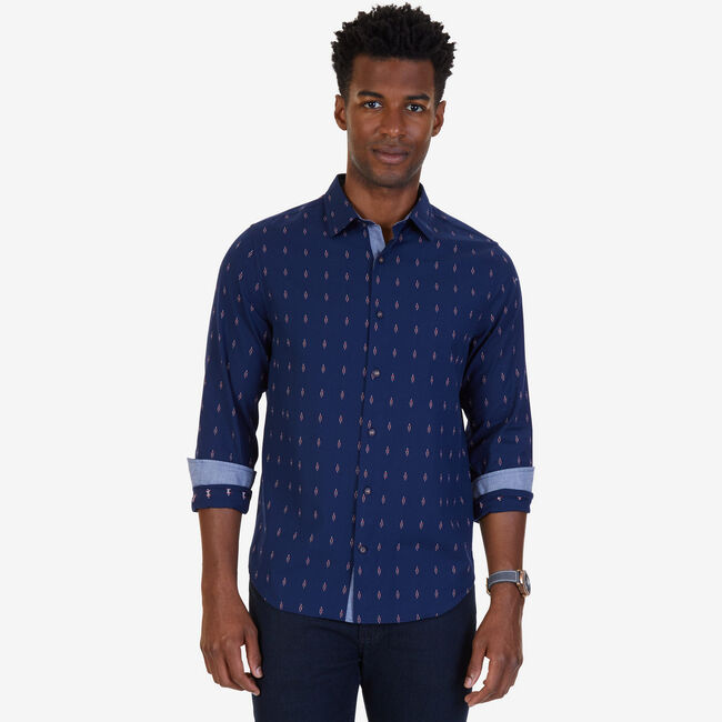 Dobby Anchor Slim Fit Button Down,Marine Blue,large
