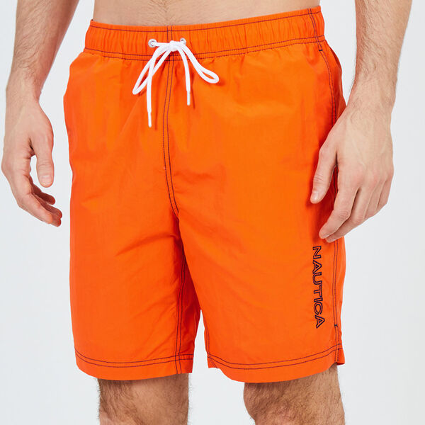 "8"" SOLID EMBROIDERED LOGO SWIM TRUNKS - Pier Orange"