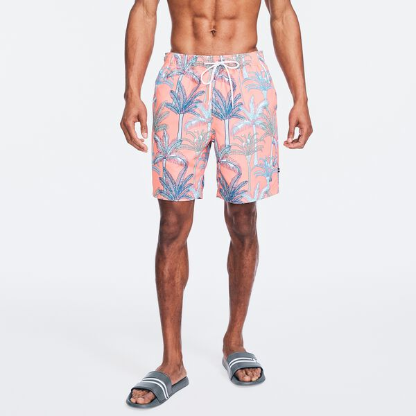 """8"""" SUSTAINABLY CRAFTED PALM TREE PRINT SWIM SHORT - Livng Coral"""
