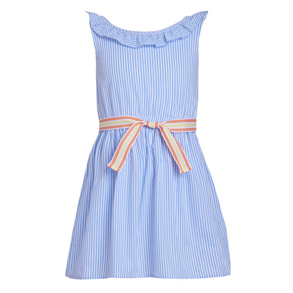 GIRLS' RUFFLE NECK STRIPE DRESS (8-20) - Tropic Wave