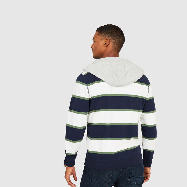 Rugby Stripe Pullover Hoodie,Marshmallow,large