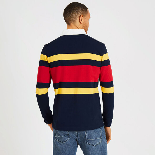 Long Sleeve Classic Fit Rugby Stripe Polo,Pure Dark Pacific Wash,large