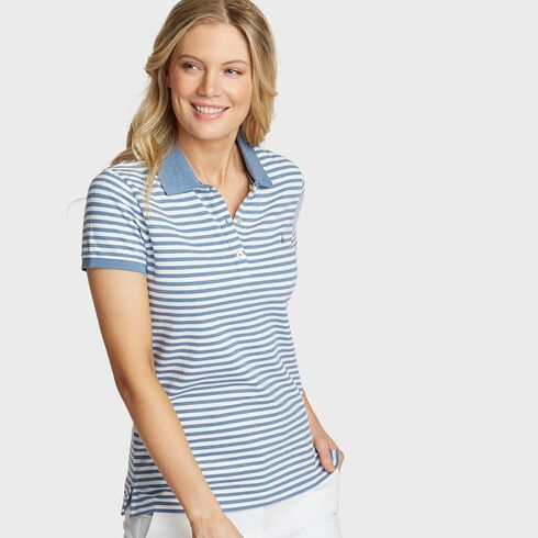 Stripe Classic Fit Polo - Sport Navy