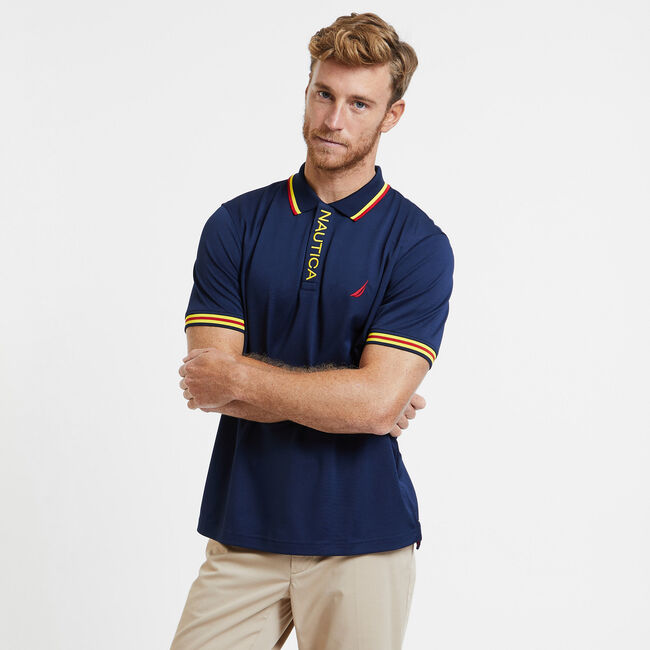 SHORT SLEEVE PERFORMANCE POLO IN CLASSIC FIT,Navy,large