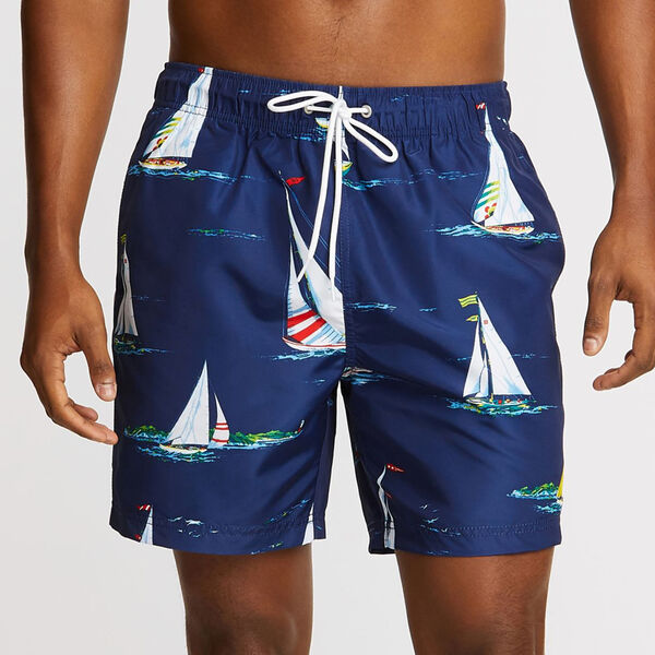 "Big & Tall Boat Motif Full-Elastic Swim Trunks - 6"" Inseam - Blue Depths"