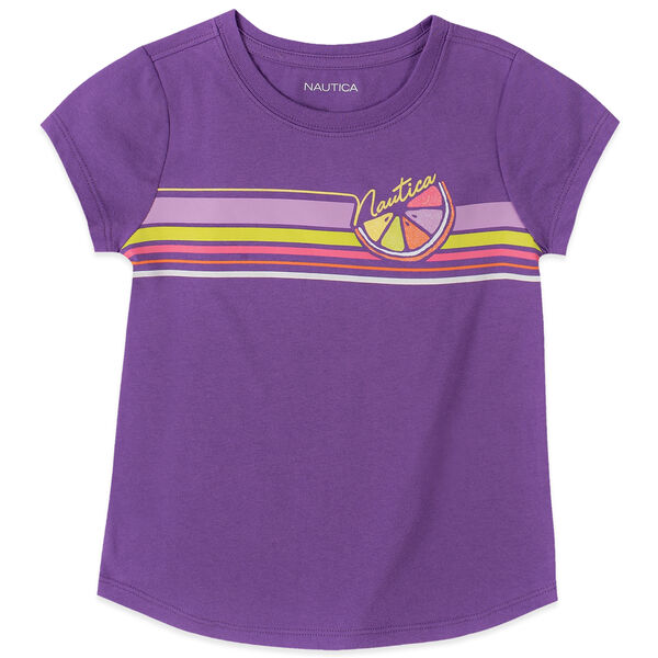 LITTLE GIRLS' LOGO STRIPE TEE (4-7) - Amethyst