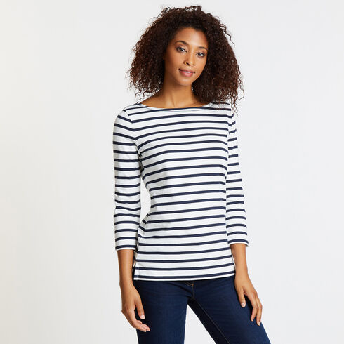 Iconic Sail Yarn Dyed Stripe Top - Marshmallow
