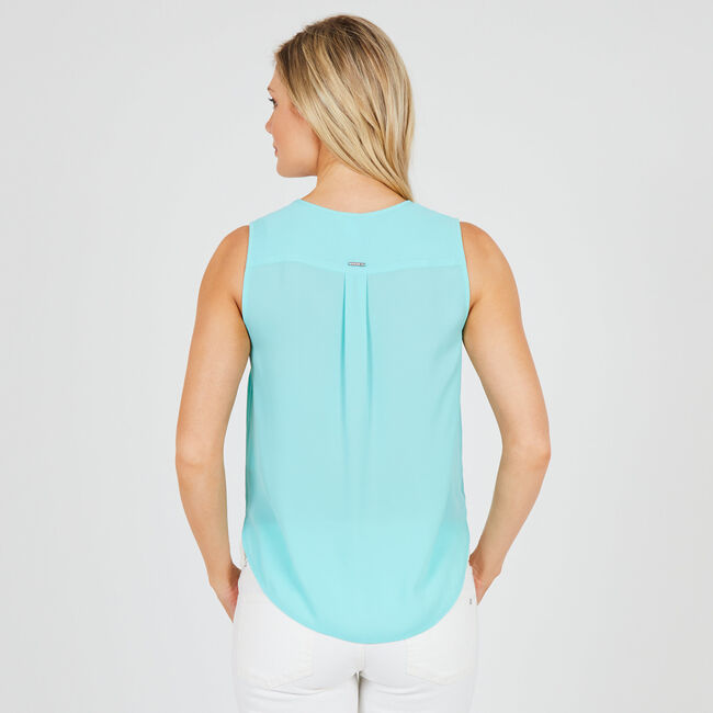 Tie-Front Sleeveless Top,Noon Blue,large