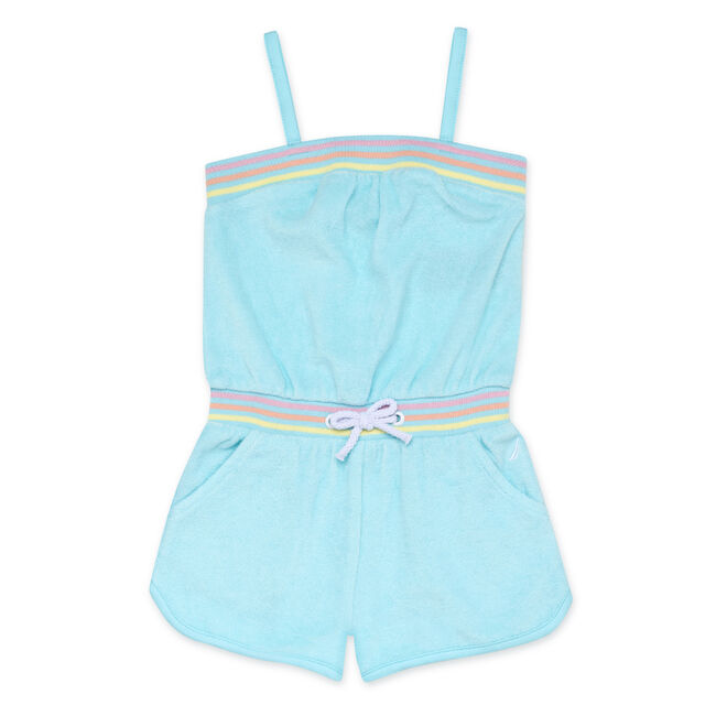 GIRLS' TERRY CLOTH ROMPER,Clear Sky Blue,large