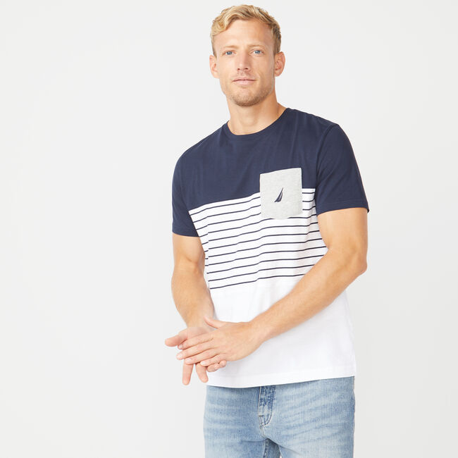 CLASSIC FIT COLORBLOCK T-SHIRT,Navy,large