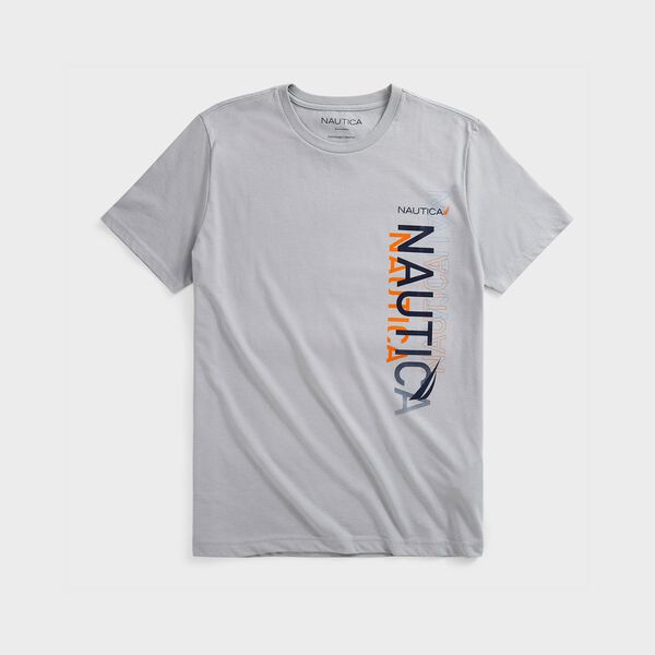 SUSTAINABLY CRAFTED VERTICAL LOGO GRAPHIC T-SHIRT - Grey Alloy