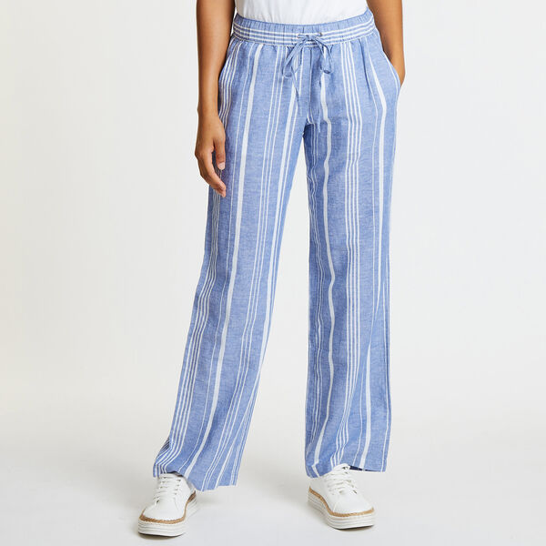 Yarn Dyed Striped Wide Leg Pants - Deep Navy Heather