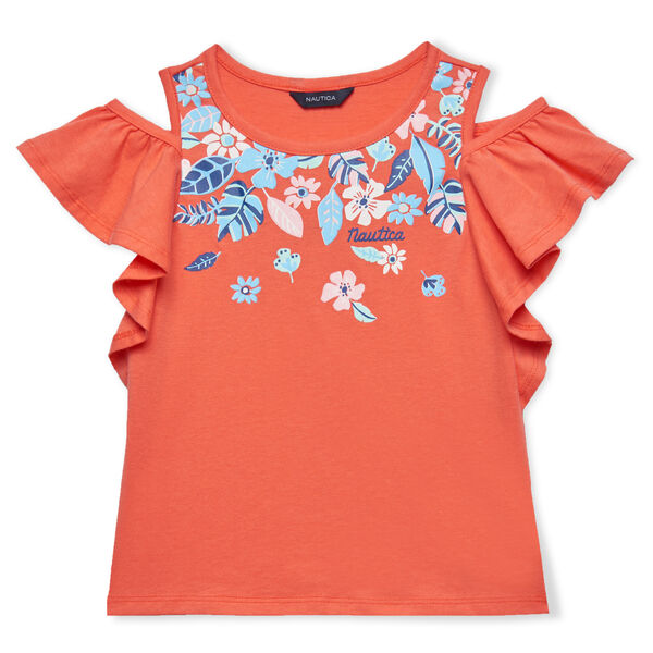 TODDLER GIRLS' COLD SHOULDER FLUTTER KNIT TOP (2T - 4T) - Orange Sunset