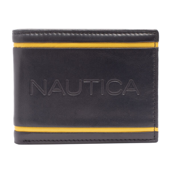 CONTRAST TRIM LEATHER PASSCASE - Navy