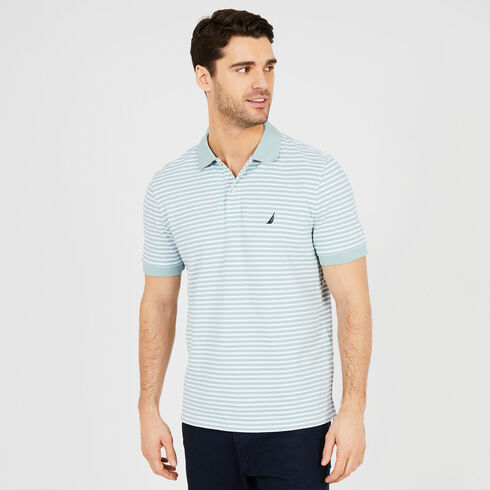 Short Sleeve Classic Fit Striped Polo - Green Terrain