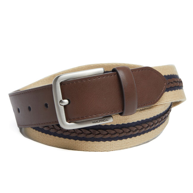Reversible Braided Casual Belt with Webbing,Earth/rope Khaki,large
