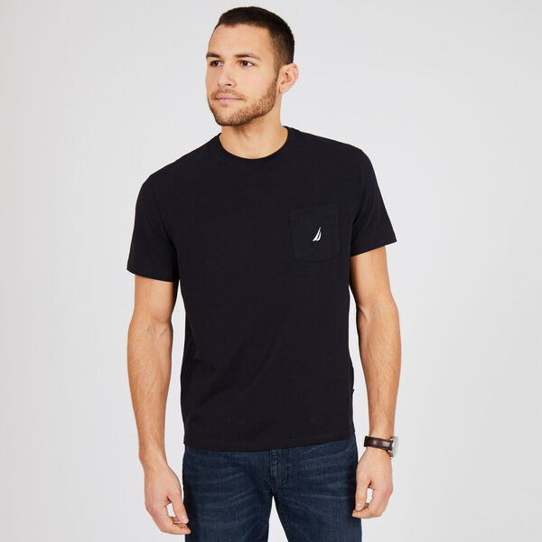 Short Sleeve Solid Pocket T-Shirt - True Black