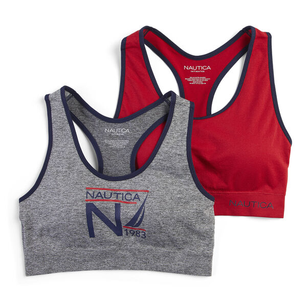 GRAPHIC LOGO SPORTS BRAS, 2-PACK - Grey Heather