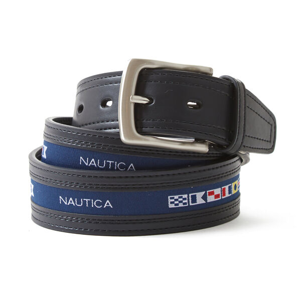 Signature Sailing Flags Belt - Rust Blue Wash Outlet