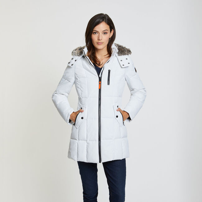 Hooded Active Parka,Bright White,large