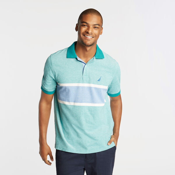 CLASSIC FIT OXFORD MESH POLO WITH CHEST STRIPE - Gulf Coast Teal