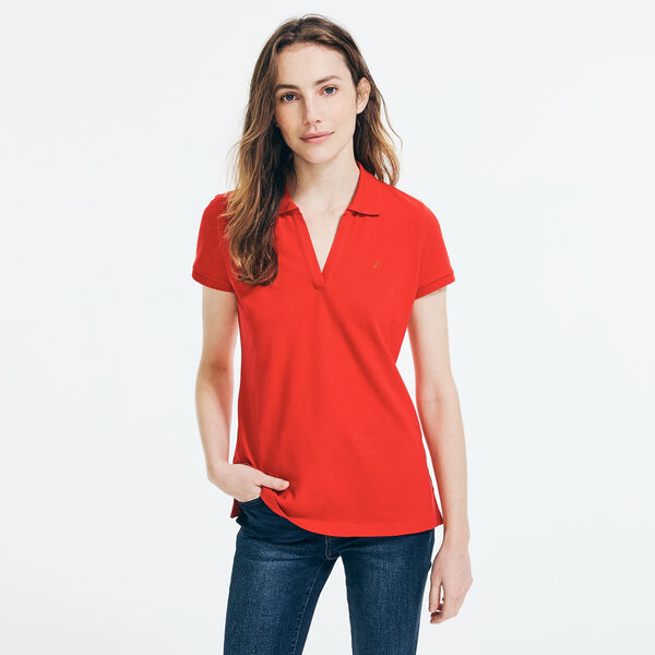 CLASSIC FIT SPLIT NECK POLO - Tomales Red