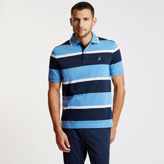 Striped Classic Fit Short Sleeve Polo,Riviera Blue,large