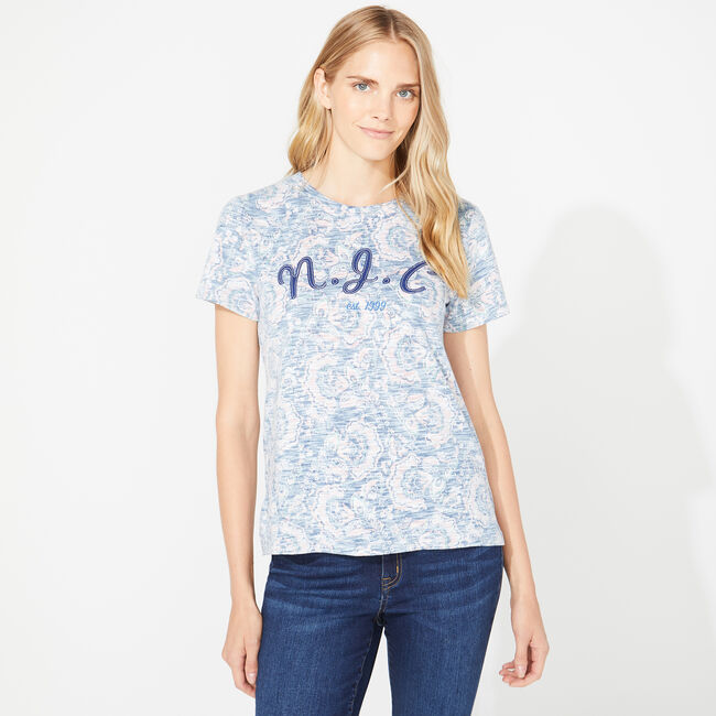 NAUTICA JEANS CO. PAISLEY CREW TEE,Stellar Blue Heather,large