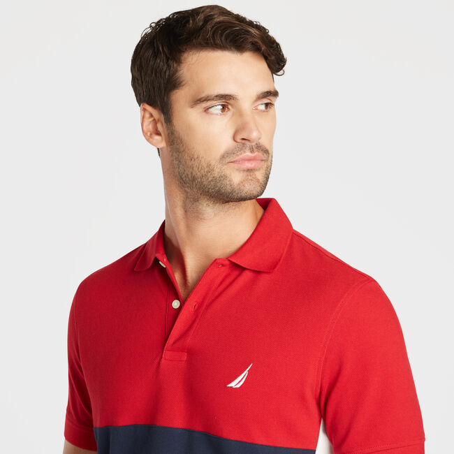 CLASSIC FIT PERFORMANCE MESH COLORBLOCK POLO,Nautica Red,large