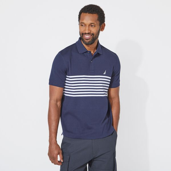 CLASSIC FIT PERFORMANCE TECH POLO IN STRIPE - Navy