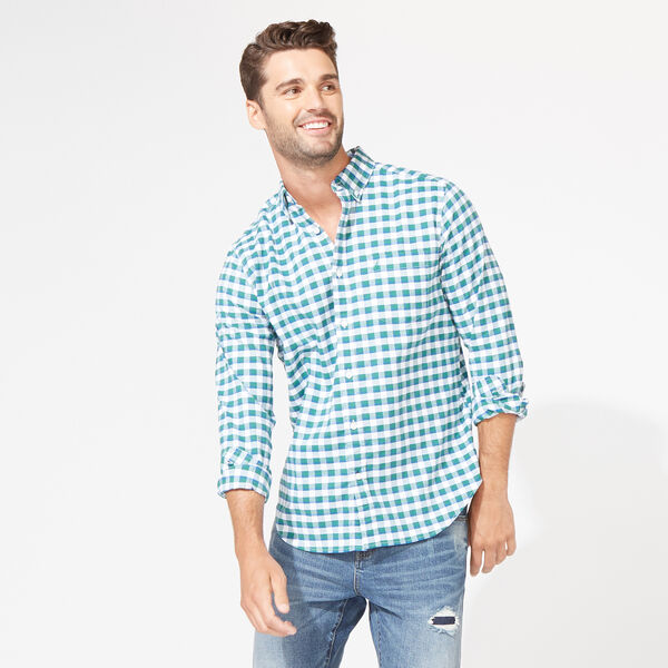 CLASSIC FIT STRETCH OXFORD IN PLAID - Spruce