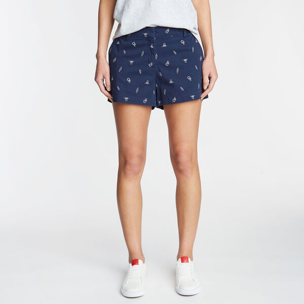CLASSIC FIT TWILL SHORT IN ROPE PRINT - Stellar Blue Heather