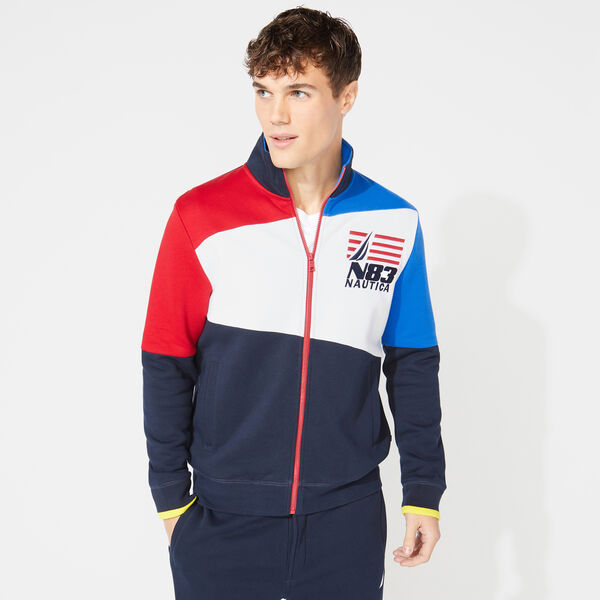 COLORBLOCK GRAPHIC TRACK JACKET - Navy