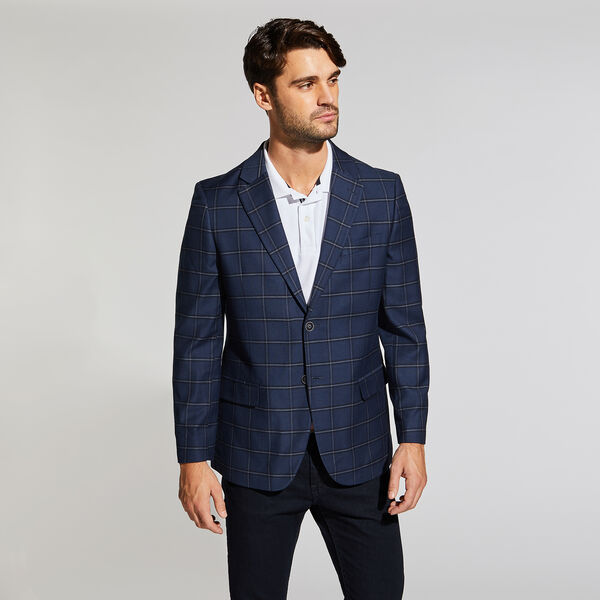 BRANFORD STRETCH BLAZER IN NAVY WINDOWPANE - Tugboat Blue