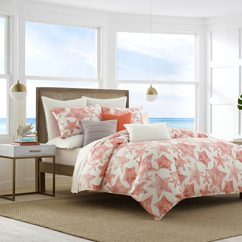 Ripple Coral Duvet & Sham Set - Flame Red
