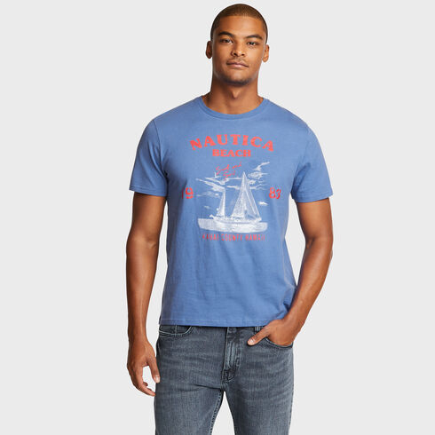 NAUTICA BEACH SAILBOAT GRAPHIC TEE - Cool Breeze