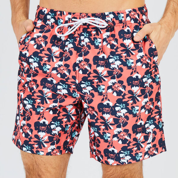 Big & Tall Abstract Poppy Swim Trunks - Spiced Coral