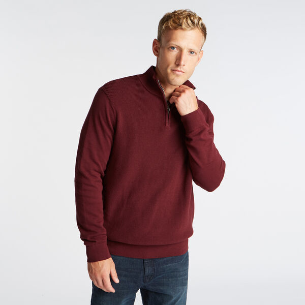 QUARTER ZIP RIBBED FRONT SWEATER - Royal Burgundy