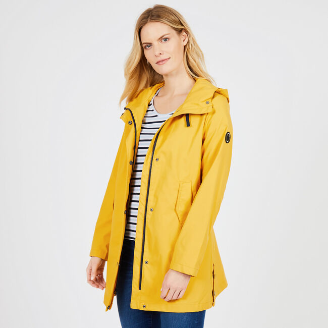 A-line Hooded Rain Jacket,Knot Yellow,large