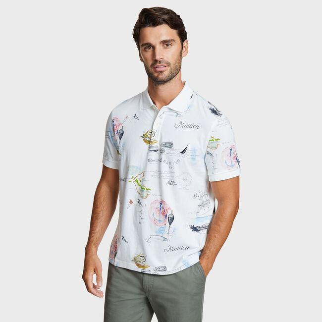 Big & Tall Painted Map Artist Series Classic Fit Polo,Sail White,large