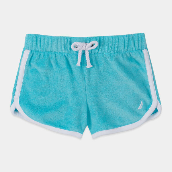 LITTLE GIRLS' TERRY DOLPHIN SHORTS (4-7) - Castaway Aqua