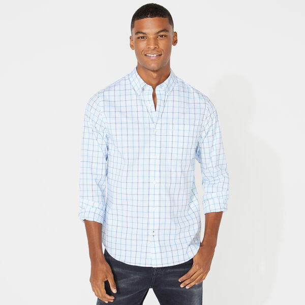 SLIM FIT WRINKLE-RESISTANT PLAID SHIRT - Azure Blue