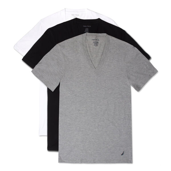 V-Neck T-Shirts, 3-Pack - Grey Heather